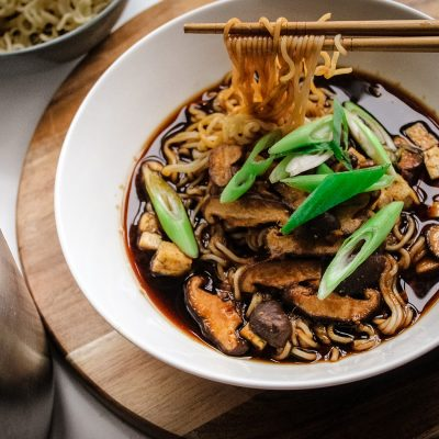 vegan miso soup with noodles
