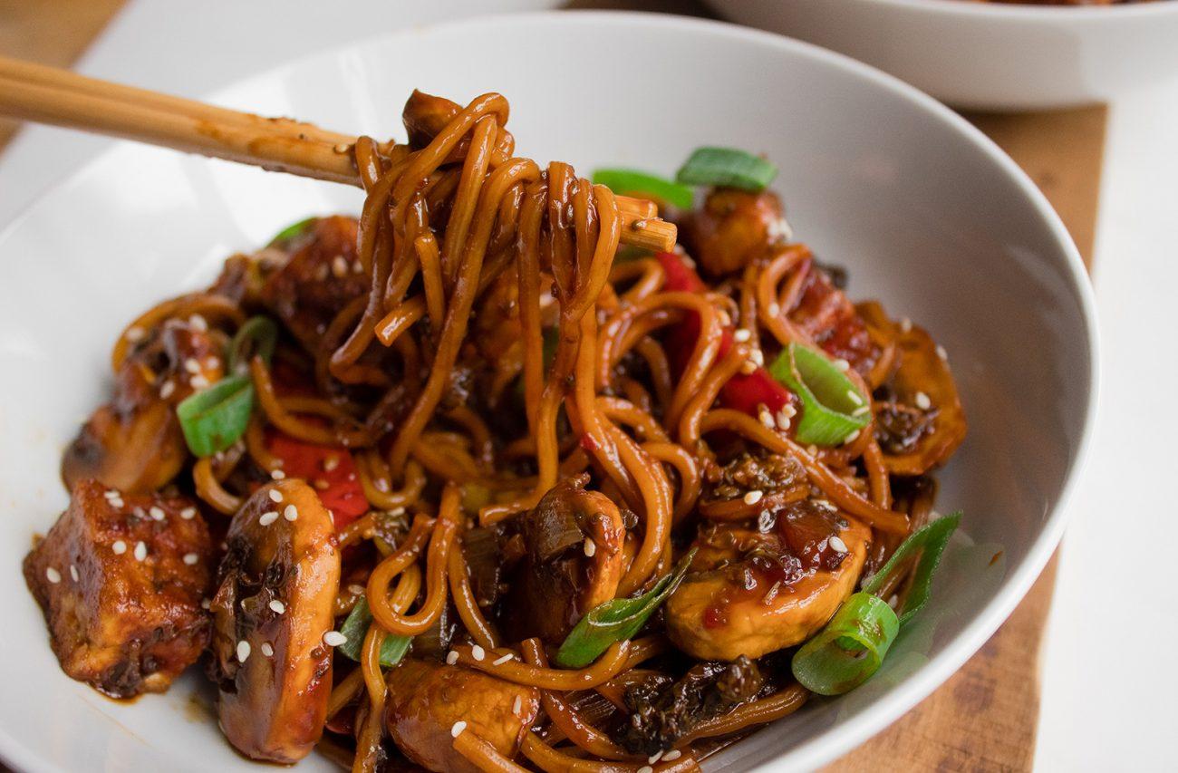 Hoisin tofu noodle stir fry