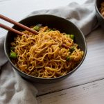 Vegan garlic sesame noodles