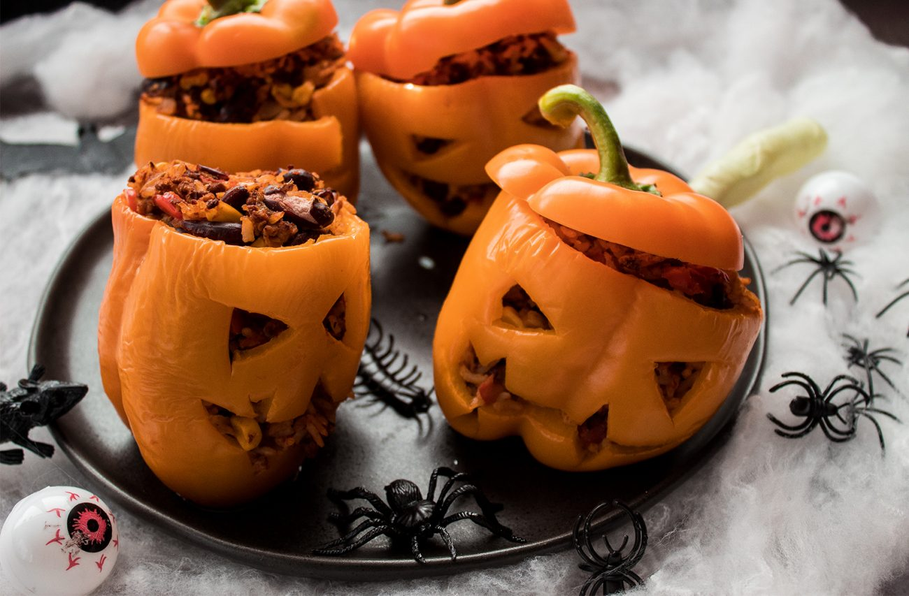 Vegan Jack-o'-Lantern stuffed peppers