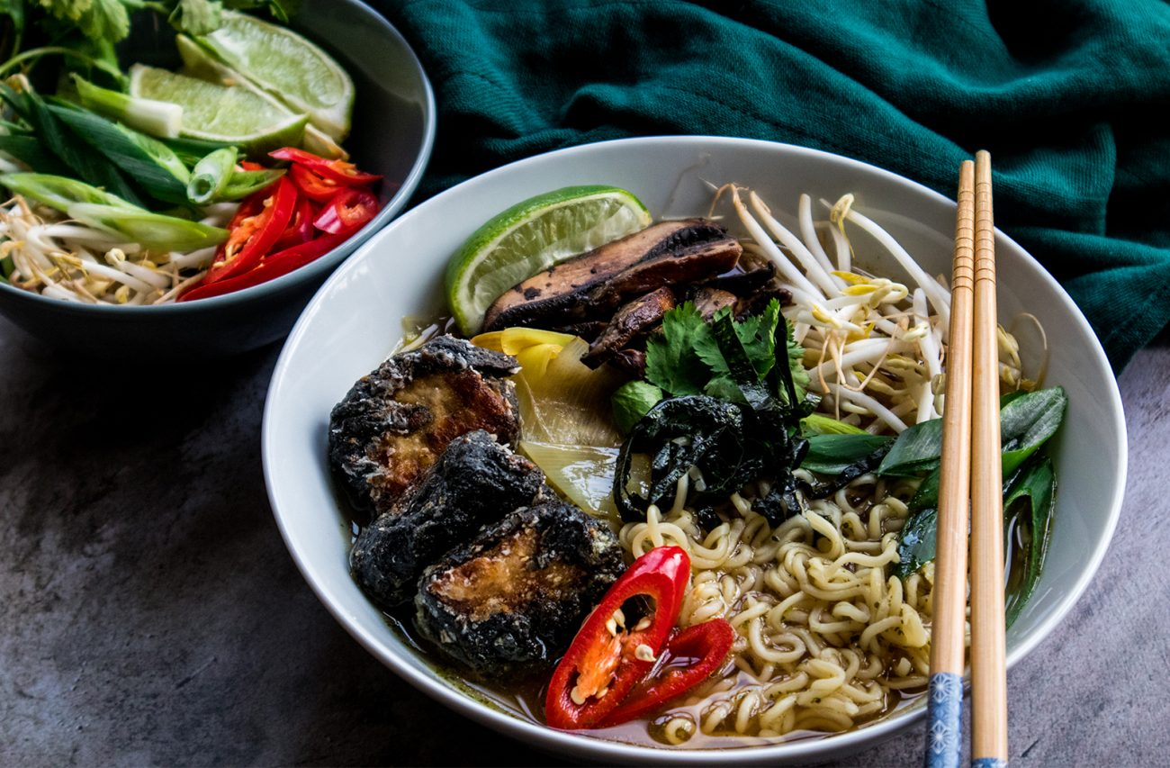 Vegan ramen (noodle soup) with nori wrapped tofu
